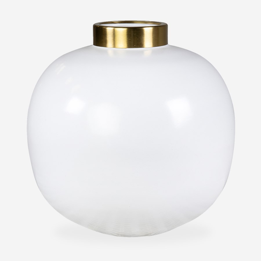 """Delta Brass Vase-13""""White/Brass"""