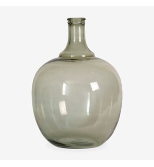 "18"" H Round Glass Vessel  - Clear with Greenish Tint"