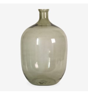 "22.5"" H Oval Glass Vessel - Clear with Greenish Tint"