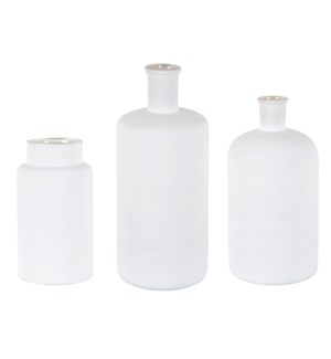 Sura Hammered Glass Vase-Matte White-Set3