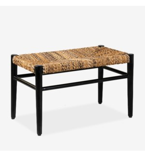 "29.5"" Damen Abaca Bench, Black And Natural"