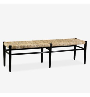 "59"" Adler Seagrass Bench, Black and Natural"