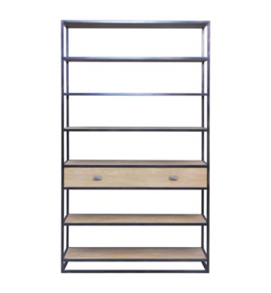 Carter Iron Bookshelf with Wooden Drawer, Brown (47x14x83)