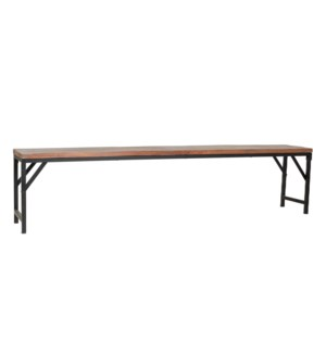 "Barley 80"" Bench, Wood/Iron"
