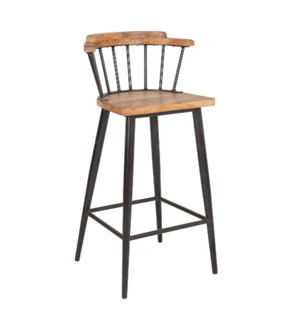 Tucker Bar Stool, Wood/Iron