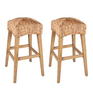 Quinn Waterhyacinth Bar Stools (Set of 2) (K/D), Natural - (package: 2pcs/box) priced per pair
