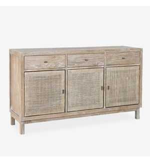 Britton Sideboard with Woven Door Panels - Grey Wash