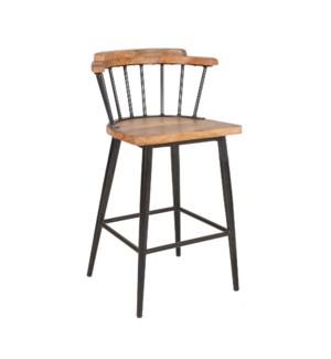 Tucker Counter Stool, Wood/Iron
