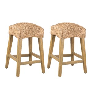 Quinn Waterhyacinth Counter Stools (Set of 2) (K/D), Natural - (package: 2pcs/box) priced per pair