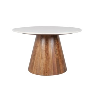"Edie 30"" Round Marble Coffee Table, Light Oak Base"