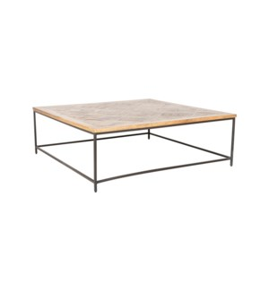 "Emmett 47"" Square Coffee Table, Greywash and Iron"