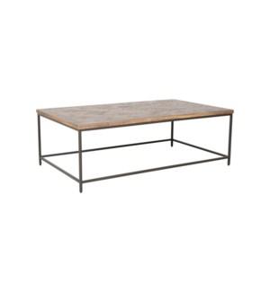 Emmett Rectangular Coffee Table, Greywash and Iron