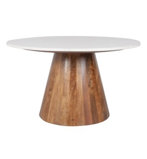 "Edie 36"" Round Marble Coffee Table, Light Oak Base"
