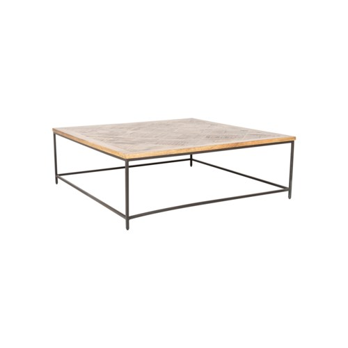 """Emmett 45"""" Square Coffee Table, Greywash and Iron"""
