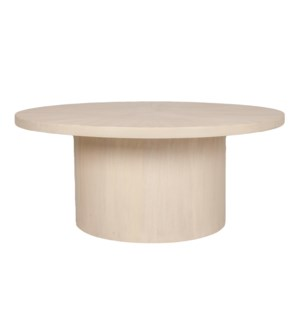 "Zane 42"" Round Coffee Table, White Wash"