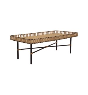 Calla Rectangular Coffee Table, Iron/Rattan 47x24x16