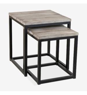 (50% Off*) Denton Nesting  Table Set of 2 -  Vintage Grey (20x20x22 / 16x16x18.5)