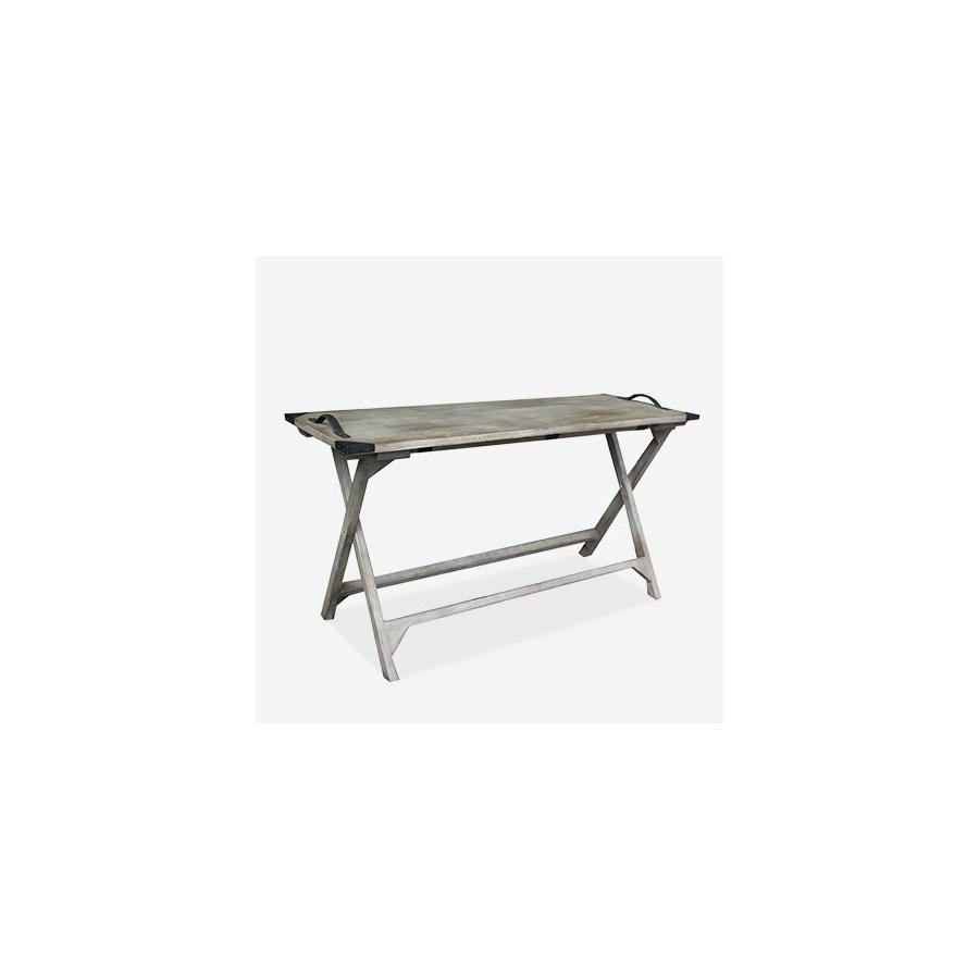 (LS) Galveston Vintage Grey Folding Console Table (K/D) (55x20x30)