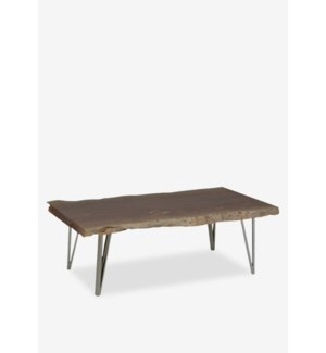 "(LS) Fairbanks 52"" Natural  Live Edge Wood Cocktail Table With Stainless Angled Legs (K/D)(52x24..."