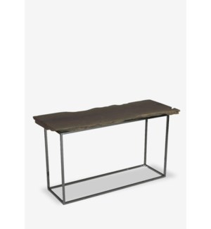 "(LS) Fairbanks 51"" Natural  Live Edge Wood Console Table With Stainless Cube Base (51x14x30).."
