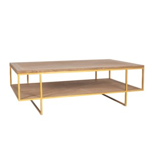 Claire Wooden Inset Coffee Table, Bronze and Tan