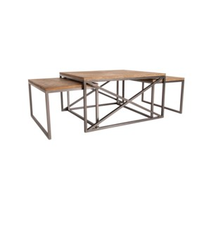 Parker Coffee Table with Set of 2 Nesting Tables, Brown and Black (35x31x19)