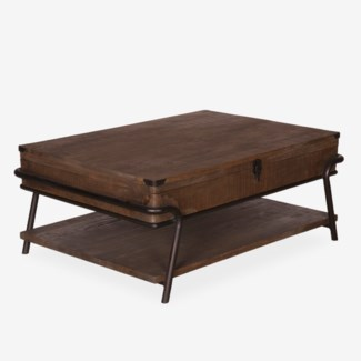 (LS) Gabriel Vintage Cocktail Table With Metal Accents (43x30x18)