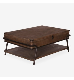 (33.25% Off) Gabriel Vintage Cocktail Table With Metal Accents (43x30x18)