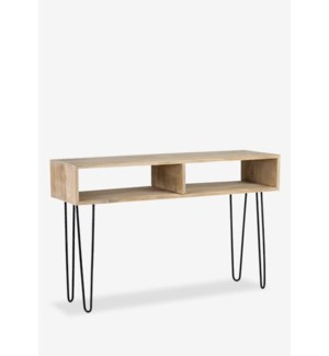 (LS) Britt Console with 2 Cubbies and Metal Angle Legs (47.6x15.75x30.7)