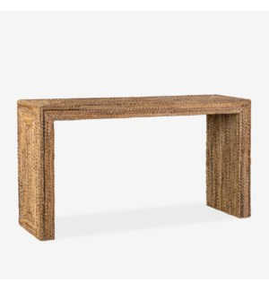 Soren Braided Seagrass Console Table, Natural