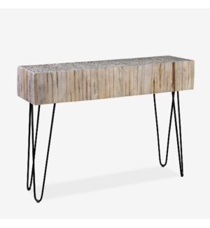 Sycamore Console Table with Metal Legs-Vintage Wash Finish(K/D) 55x16x31