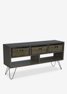 "Seabrook 51"" TV Media Cabinet With 3 Driftwood Baskets And 2 Cubbies W/ Angle Metal Legs (K/D) (51x1"