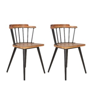 Tucker Wood and Iron Dining Chair Set