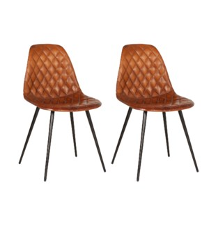 Finn Leather and Metal Dining Chair Set