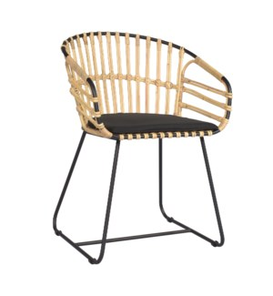 Orley Dining Arm Chair, Iron/Rattan 22x20x31,5