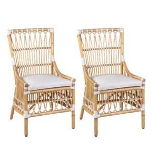 LaSalle Rattan Dining Chair, Natural and White -  MOQ 2 (2 pcs per box) priced per piece
