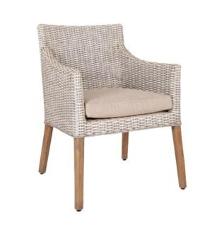 Fuller Dining Arm Chair, White Satin