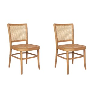 Pia Cane and Rattan Side Chair Set Set of 2, 2 Pcs. Per Box, Priced per Pair