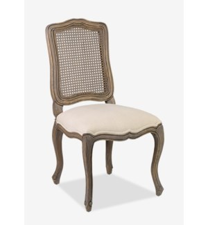 (LS) Arthur Dining Side Chair (upholstered seat and rattan cane back)-Walnut (S14) (21,2x23x41,2)