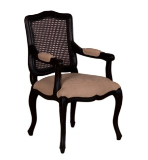 Arthur Dining Arm Chair (upholstered seat and rattan cane back) - Vintage Black Frame (24x24x41,2)