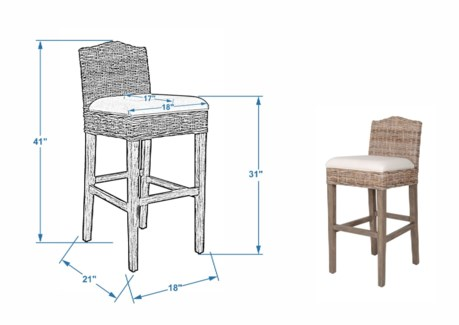(SP) Durham Rattan Barstool w/ Upholestered Seat and Wood Base (18x20x42)