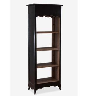 La Salle Open Bookcase (narrow) - Vintage Black Frame (26x16x70)