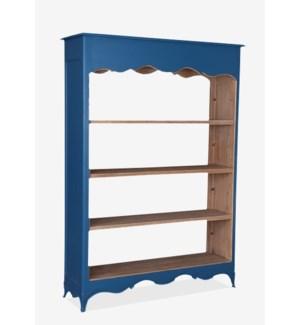 La Salle Open Bookcase (wide) (49x16x70)-Blue bretagne