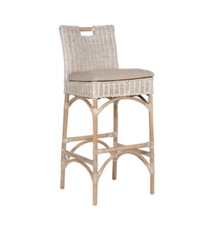 Natural Rattan Barstool - grey wash (18X18X42)