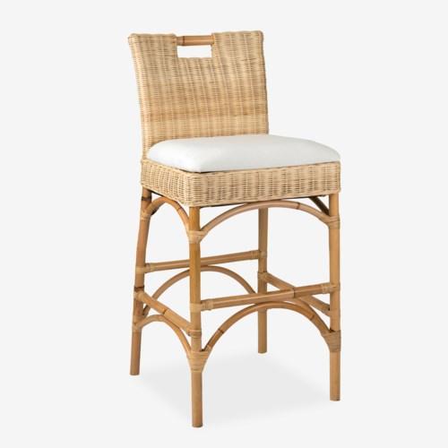 Enjoyable Natural Rattan Barstool 18X18X42 Inzonedesignstudio Interior Chair Design Inzonedesignstudiocom