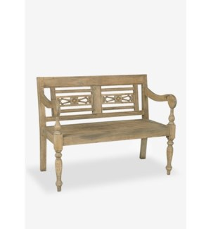 Promenade Carved Wood Bench..(43.25X25X34.25)