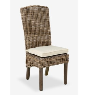 Seascape Driftwood Rattan Side Chair w/ cushion -MOQ 2- (18.5X24X42.5) (package: 2pcs/box) price is