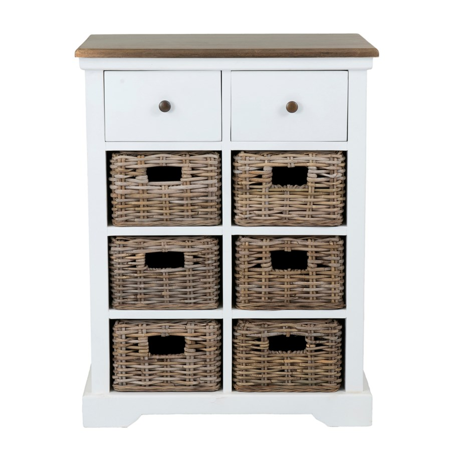 (LS) Simone White Cabinet (2 Drawers+6 Baskets) (25.5X15X33.5)