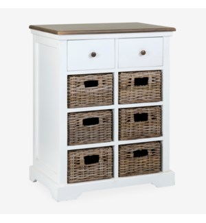 (29.78% Off) Simone White Cabinet (2 Drawers+6 Baskets) (25.5X15X33.5)