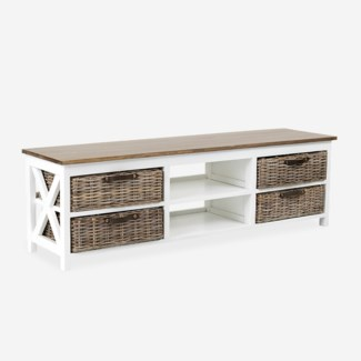 (SP) Simone TV Stand (2 Shelves+4 Baskets)-White (59X15X18)